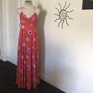 Forever 21 Fit Flare Red Multi Maxi Dress
